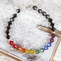 Swarovski crystal beaded bracelet, 'Colors of Pride' - Rainbow Colored Swarovski Crystal Bracelet