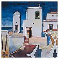 Giclee print on canvas, 'Dream House II' - Mexico Dream Houses on the Shore Giclee Print on Canvas