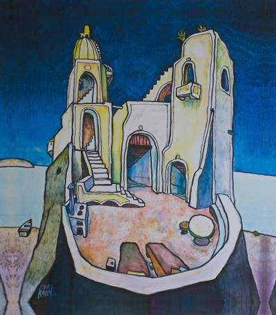 Giclee print on canvas, 'Dream House I' - Surreal Castle Tower Giclee Print on Canvas Mexico