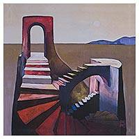 Giclee print on canvas, 'Remains of a Dream' - Surreal Stairs to Nowhere Giclee Print on Canvas Mexico