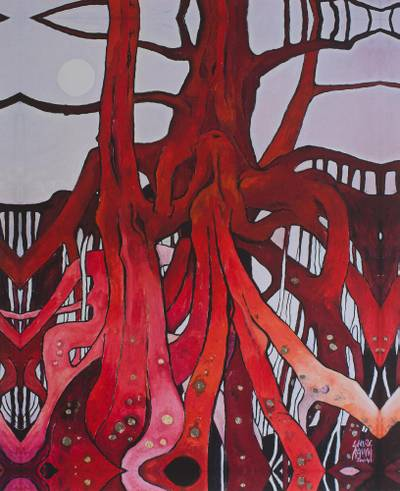 Giclee print on canvas, 'Red Roots with Gold' - Signed Surrealist Giclee Artwork of Trees in Red from Mexico