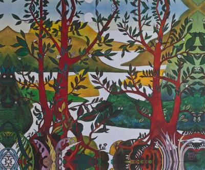 Giclee print on canvas, 'Four Red Trees' - Springtime Mountain Landscape Giclee Print on Canvas Mexico