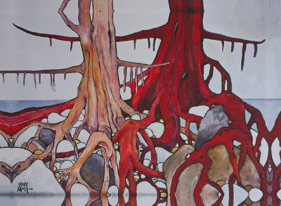 Giclee print on canvas, 'Brown and Red Trees' - Signed Surrealist Giclee Artwork of Two Trees from Mexico