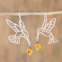 Amber dangle earrings, 'Flight of the Hummingbird' (Mexico)