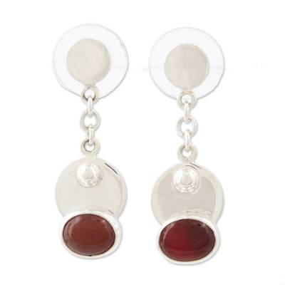 Carnelian and Sterling Silver Dangle Earrings from Mexico
