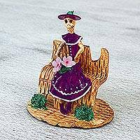 Ceramic statuette, 'Waiting Catrina in Purple' - Handcrafted Ceramic Catrina Statuette in Purple from Mexico
