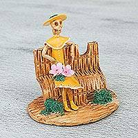 Ceramic sculpture, 'Waiting Catrina in Yellow' - Handcrafted Ceramic Catrina Sculpture in Yellow from Mexico