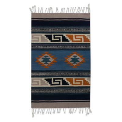 Zapotec wool rug, 'Folkloric Heritage' (2x3) - Hand Made 100% Wool Zapotec Fret Rug from Mexico (2x3)