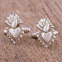 Sterling silver cufflinks, 'Sagrado Corazon' - Sterling Silver Sacred Heart Cufflinks from Mexico
