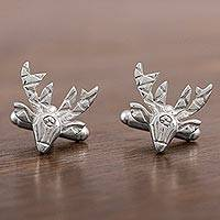 Sterling silver cufflinks, 'Silver Deer' - Polished Deer Head Sterling Silver Cufflinks from Mexico