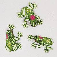Ceramic wall art, 'Happy Frogs' (set of 3) - Ceramic Wall Art Frogs from Mexico (Set of 3)