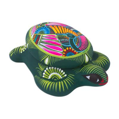 Hand painted ceramic decorative box, 'Turtle Memory' - Hand Painted Ceramic Decorative Turtle Box from Mexico