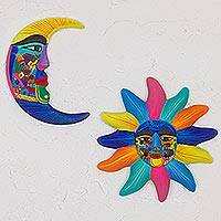 Ceramic wall art, 'Beauty of the Sky' (pair) - Hand Painted Ceramic Sun and Moon Wall Art (Pair)