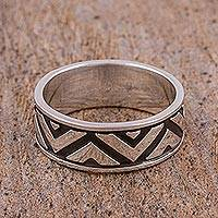 Sterling silver band ring, 'Zigzag Glimmer' - Zigzag Motif Sterling Silver Band Ring from Mexico
