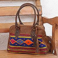 Wool accent leather handbag, 'Gentile Tradition' - Handcrafted Wool Accent Leather Handbag from Mexico