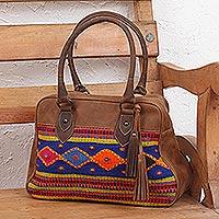 Wool accent leather handbag,