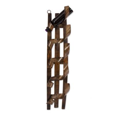 Rustic Oak Wood Wall Rack Wine Bottle Holder
