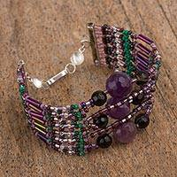 Amethyst and agate beaded bracelet, 'Lovely Aura' (Mexico)