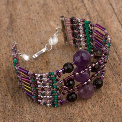 Amethyst and agate beaded bracelet, 'Lovely Aura' - Amethyst and Agate Beaded Wristband Bracelet from Mexico