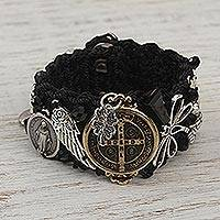 Wristband bracelet, 'San Benito' - Handcrafted Bohemian Wristband Bracelet in Black from Mexico