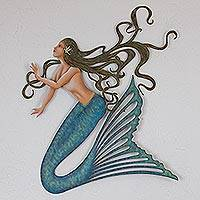 Steel wall sculpture, 'Pacific Mermaid' - Artisan Crafted Steel Mermaid Wall Sculpture from Mexico