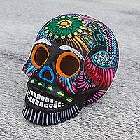 Ceramic decorative accent, 'Pre-Hispanic Tradition' - Hand-Painted Ceramic Skull Decorative Accent from Mexico