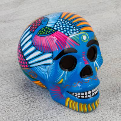 Ceramic skull figurine, Colorful Death