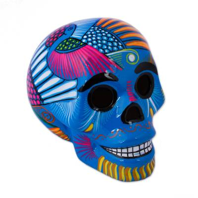 Ceramic skull figurine, 'Colorful Death' - Mexican Hand Painted Blue Decorative Ceramic Skull