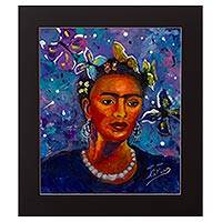 'Frida' - Original Expressionist Painting of Frida Kahlo in Blue