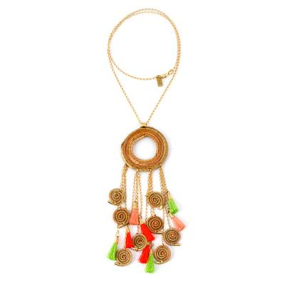Gold Plated Statement Necklace with Pine Needles