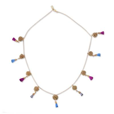 Gold Plated Station Necklace with Cotton and Pine Needles