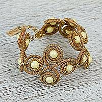 Gold accent cultured pearl wristband bracelet, 'Forest Pinwheels' - Pine Needle and Cultured Pearl Wristband Bracelet 24k Gold