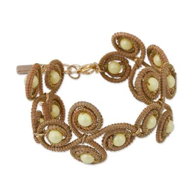 Pine Needle and Cultured Pearl Wristband Bracelet 24k Gold