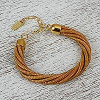 Gold accent natural fiber bracelet, 'Pine Tree Twist' - Handcrafted Pine Needle Bracelet with 14k Gold Accents