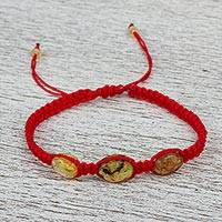 Amber braided bracelet, 'Amber Passion' - Red Nylon Braided Bracelet with Amber Beads from Mexico
