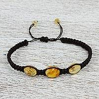 Amber braided bracelet, 'Amber Night' - Braided Nylon Bracelet with Mexican Amber in Black