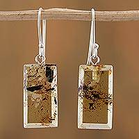 Amber dangle earrings, 'Amber Treasure' - Sterling Silver and Amber Bar Dangle Earrings from Mexico