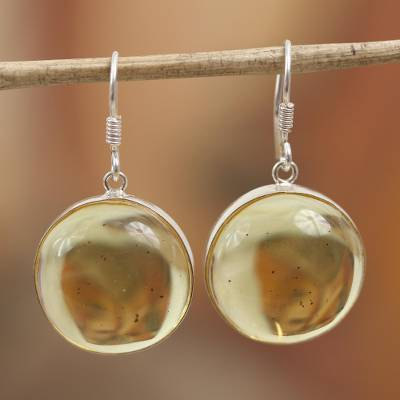 Amber dangle earrings, 'Amber Sunset' - Round Amber and Sterling Silver Dangle Earrings from Mexico