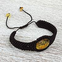 Amber and braided nylon bracelet, 'Touch of Glimmer' - Black Braided Nylon Bracelet with Amber Stone from Mexico