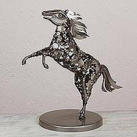 Upcycled iron sculpture, 'Strong and Present' - Handcrafted Upcycled Iron Horse Sculpture from Mexico