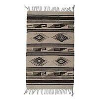 Wool area rug, 'Ancestral Pride' (2x3) - Handmade Brown and Ivory Mexican Area Rug (2x3)
