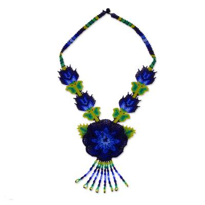 Blue Floral Huichol Beaded Necklace with Yellow Butterflies