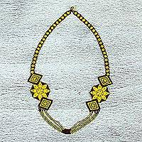 Glass beaded necklace, 'Desert Sun' - Hand Made Yellow and Brown Huichol Beaded Necklace