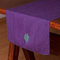 Cotton table runner, 'Harmonious Path' - Handmade Purple 100% Cotton Table Runner from Mexico