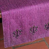 Cotton table runner, 'Mexican Blush' - Artisan Made Mexican 100% Cotton Table Runner