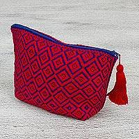Cotton cosmetics bag, 'Chamula Glory' - Hand Woven 100% Cotton Patterned Cosmetics Bag from Mexico
