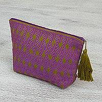 Cotton cosmetics bag, 'Mayan Essence' - Artisan Crafted Geometric Cotton Cosmetics Bag from Mexico
