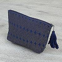 Cotton cosmetic bag, 'Pre-Hispanic Stories' - Brocade Cotton Cosmetic Bag in Graphite from Mexico