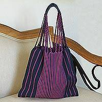 Cotton tote, 'Ancestral Stripes in Magenta' - Striped Cotton Tote in Magenta and Navy from Mexico
