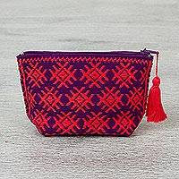 Cotton coin purse, 'Mayan Joy' - Hand Made Geometric Motif Cotton Coin Purse from Mexico